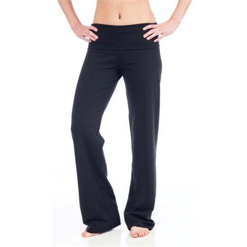 Beckons Organic Wisdom Fold-Over Yoga Pants black