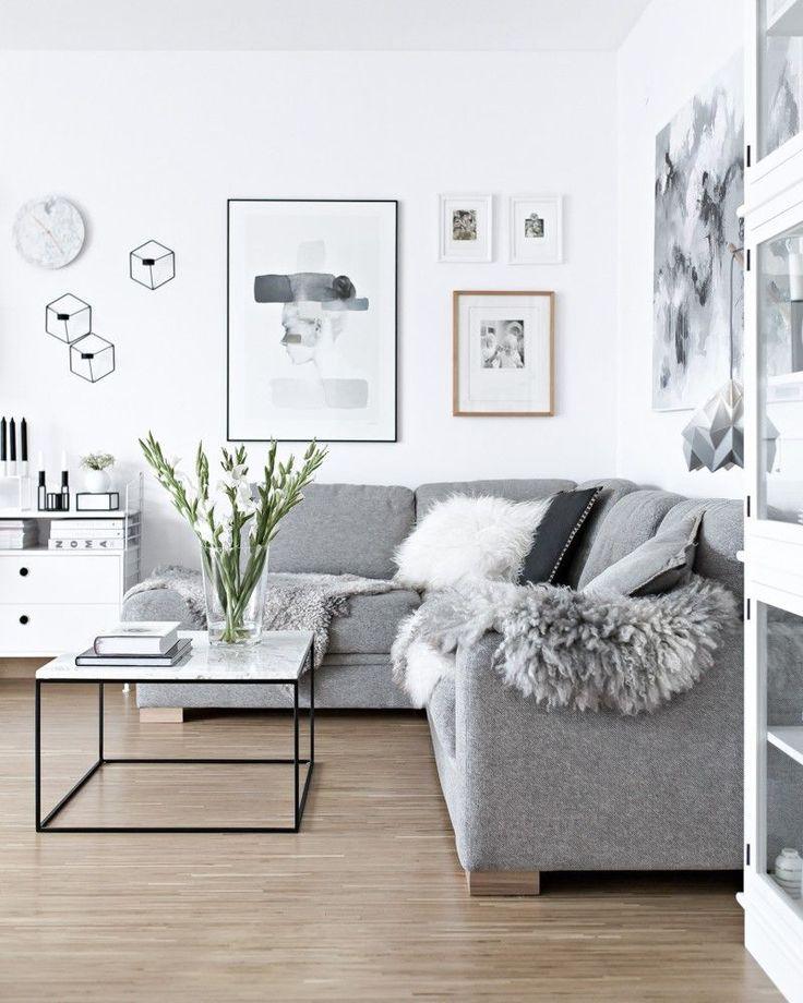Grey sofa scandinavian design