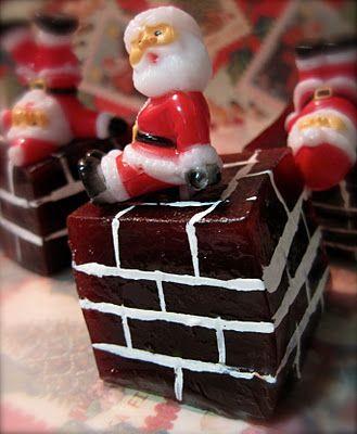 santa jello shots. strawberry chocolate