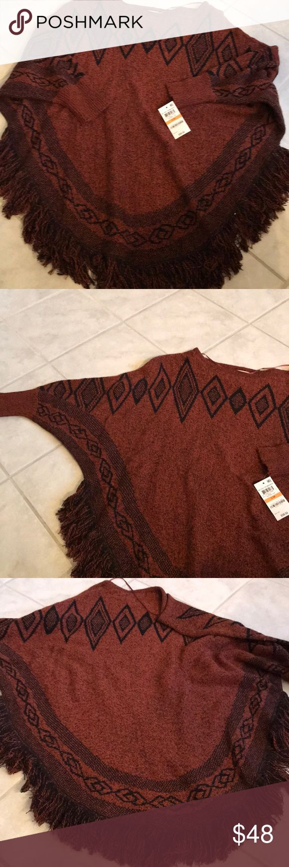 NWT batwing Aztec look shirt S/M size Gorgeous color for the fall. Brand new Never worn. No offers will be accepted. Already discounted. Thank you. Style & Co Sweaters Shrugs & Ponchos