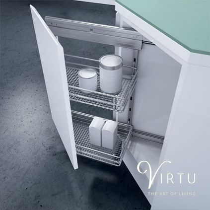 Angled Wirework Storage Unit. Perfect for jars & bottles - available in 300mm. #KitchenStorage #SpaceSaving #CleverStorage #StorageSolutions #Virtu #VirtuKitchens http://www.virtukitchens.uk/storage/