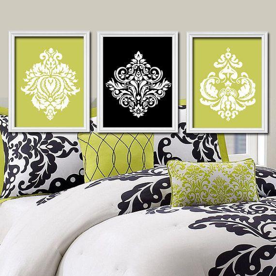 Lime Green Black White Damask Ornamental Design Artwork Set Of 3 Trio Prints Wall Decor Abstract
