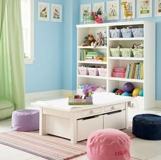 Kids play room....love the table idea