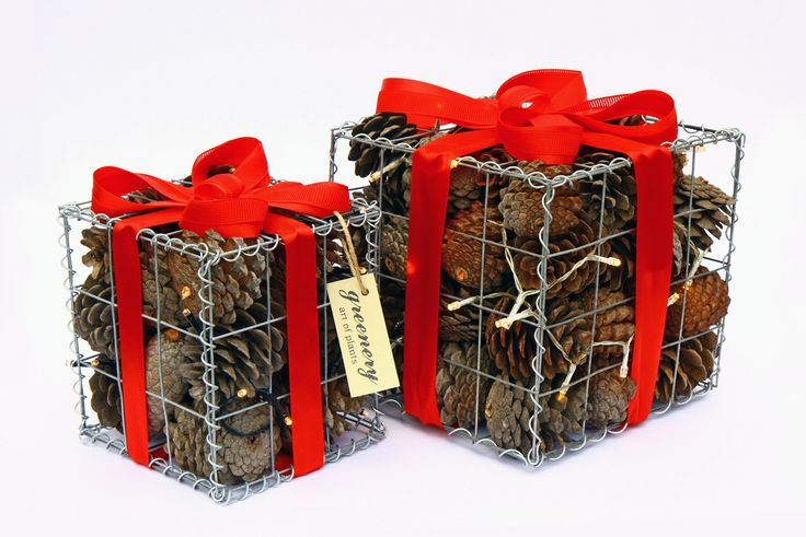 Gabion Christmas gift! #greenery #christmas #gift #cones #greece