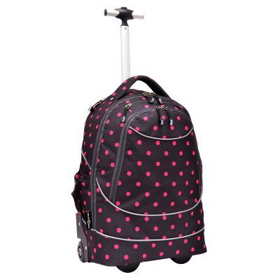 Travelers Choice Pacific Gear Horizon Rolling Computer Bag / Multi-Use Carry-On Backpack Black / Hot Pink Dots - GP80780DOK