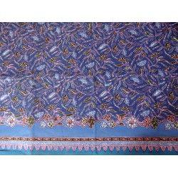 Batik Cap Cirebon motif fleuri fond bleu