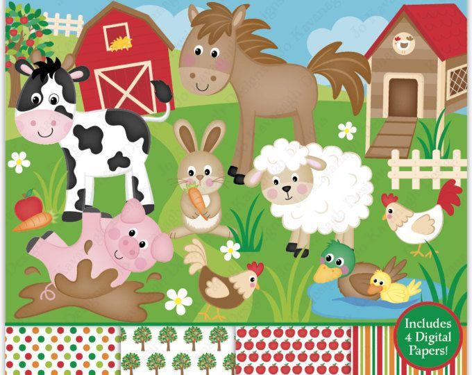 Digital Clipart Farm Animals Digital Paper And Clip Art Etsy Clip Art Digital Paper Digital Clip Art