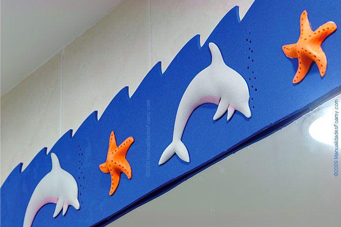 Decore su baño con estas Manualidades en Foamy Goma Eva, formas marinas como delfines, estrellas de mar y demás. Descargue Moldes GRATIS en PDF ahora!
