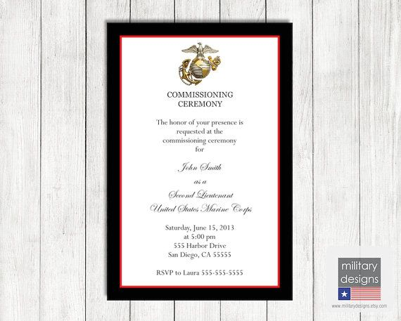 marine corps commissioning ceremony invitation by
