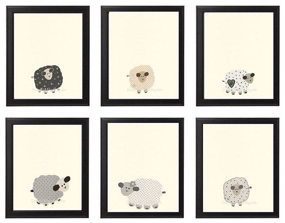 Baby Nursery Art Nursery Art Decor close-up portraits Set of Prints for baby sheep Lamb match to little sleepy sheep Black White Cream Tan