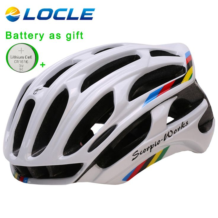 LOCLE Bicycle Helmet Integrally-molded Cycling Helmet Outdoor Sports Road Mountain MTB Bike Helmet With LED Warning Lights