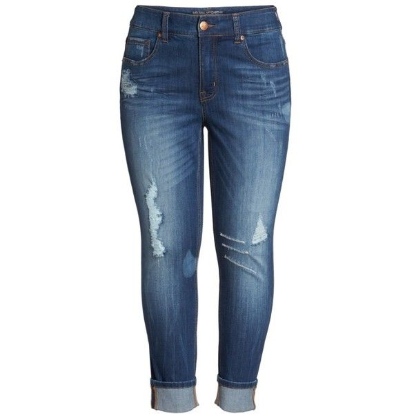 Plus Size Women's Melissa Mccarthy Seven7 Distressed Roll Cuff... (£69) ❤ liked on Polyvore featuring jeans, bottoms, straight leg jeans, women's plus size jeans, plus size destroyed jeans, destructed jeans and plus size straight leg jeans