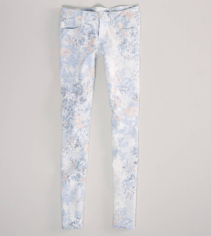 Floral Skinny Jeans. These would look great with a coral pink shirt!
