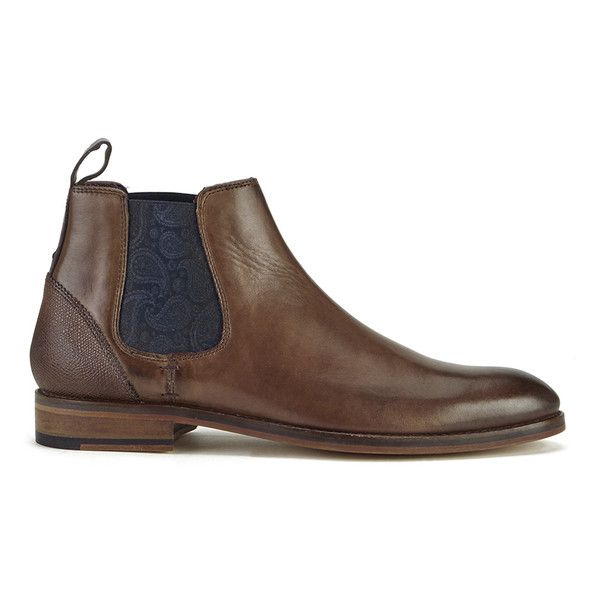 Ted Baker Men's Camroon 4 Leather Chelsea Boots (280 CAD) ❤ liked on Polyvore featuring men's fashion, men's shoes, men's boots, brown, mens paisley shoes, mens leather ankle boots, mens leather chelsea boots, mens chelsea boots and mens beatle boots