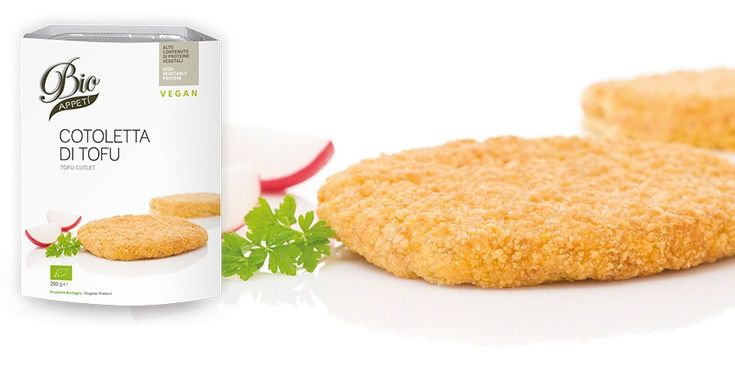 Cotoletta di tofu Alto contenuto di proteine vegetali  TOFU:DAL SUCCO DEI SEMI DI SOIA ESTRATTO E CAGLIATO CON PERIZIA NASCE QUESTO ALIMENT...