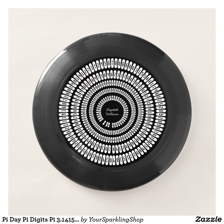 #PiDay Pi Digits Pi 3.14159 Numbers #BlackWhite #Frisbee #personalize