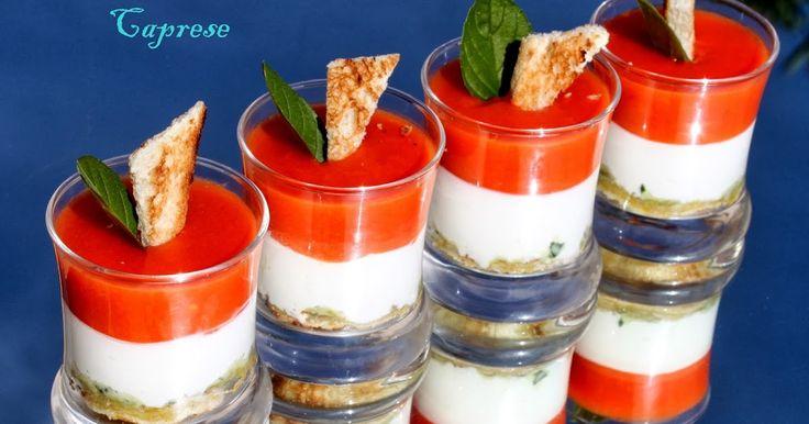 ensalada caprese, vasitos de ensalada, vasitos, entrantes, Julia y sus recetas, ensaladas en vasito