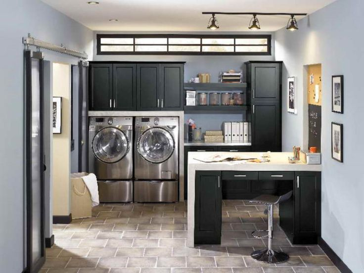 Winsome Home Office Combined With Track Light Design And Elegant Laundry Room Cabinets Beautiful