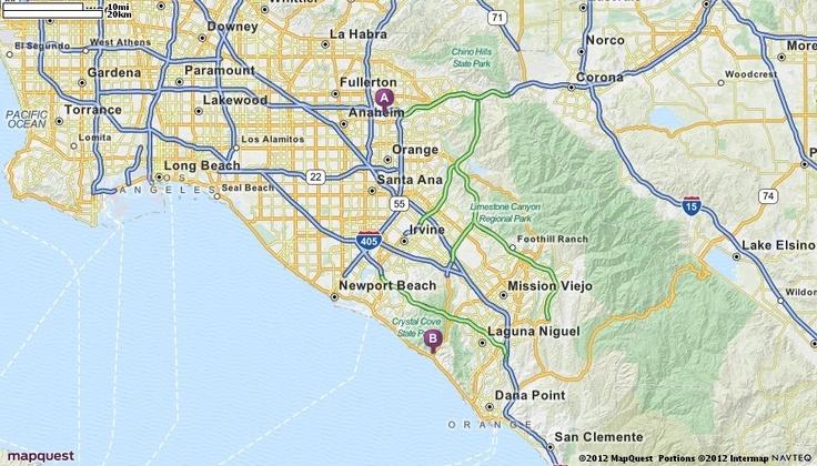 Driving Directions from 3100 E Frontera St, Anaheim, California 92806 to Laguna Beach, California | MapQuest