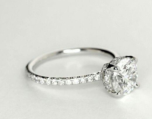 1 ct. Blue Nile Studio Petite French Pavé Crown Diamond Engagement Ring, stock #50572