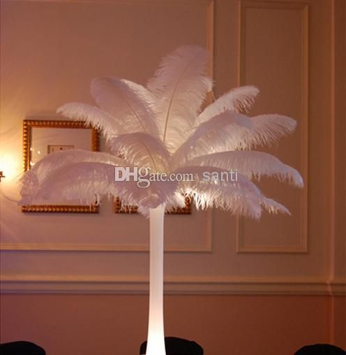 Inch ostrich feather plume white wedding centerpieces