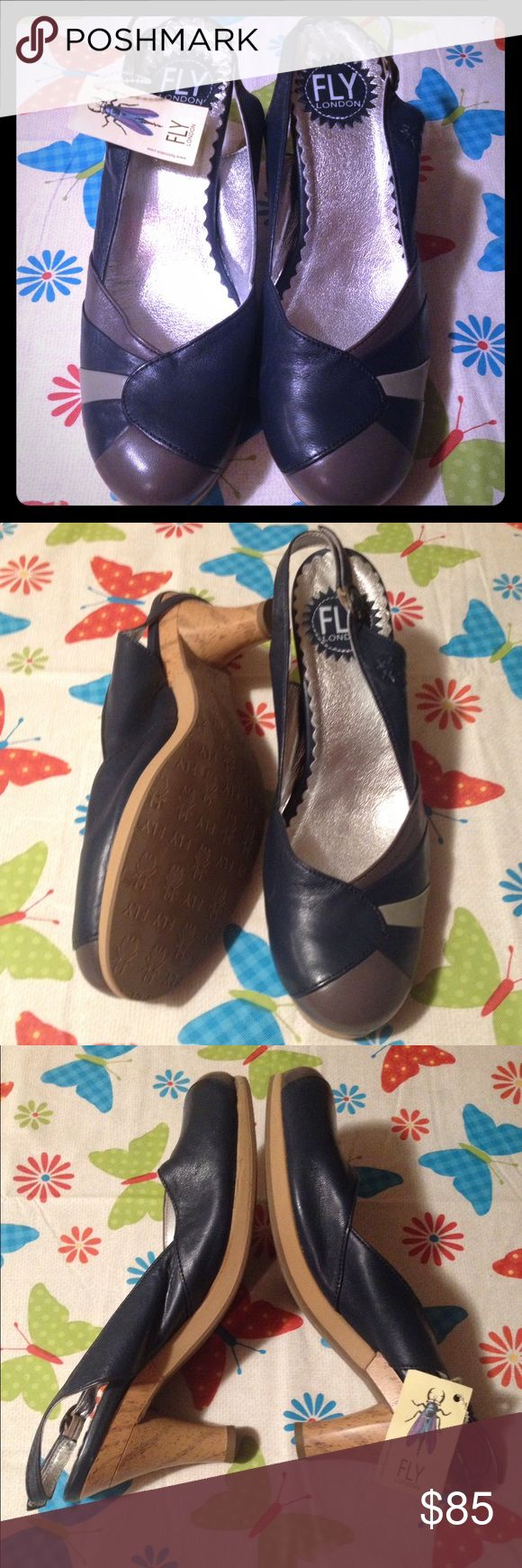 SALE❣❣100% Authentic Fly London High Heels❣❣ 🌟Dropped Price🌟100% Authentic Fly London High Heels. Super cute!! Never worn 😳 My mother is a shop-alcoholic! No lie. If I could walk in high heels, I'd be keeping them❣ Fly London Shoes Heels