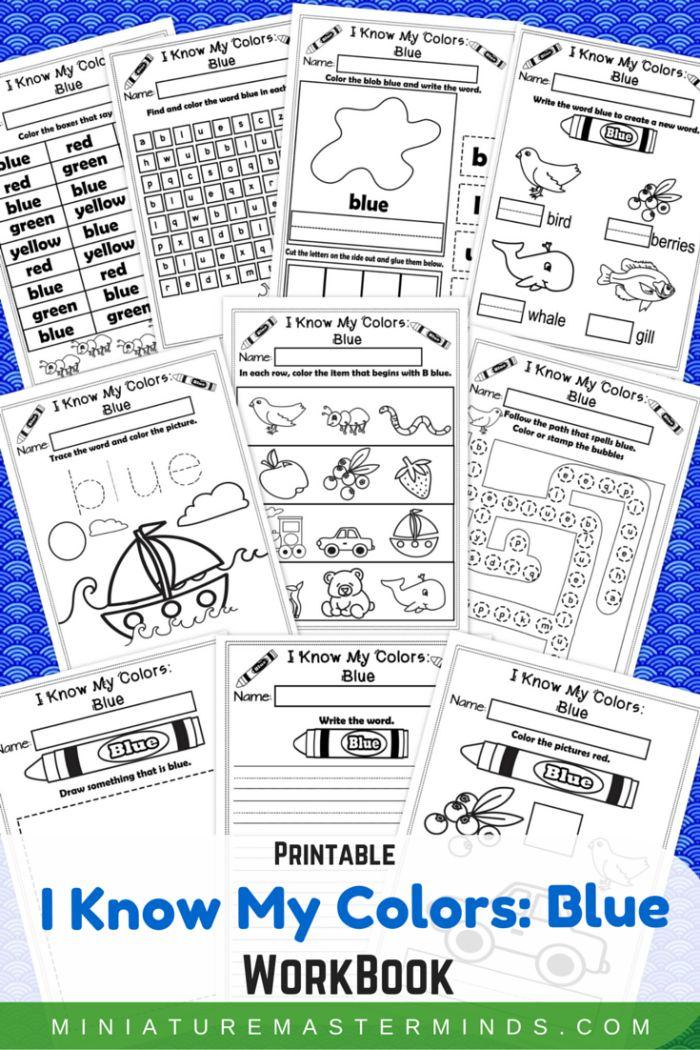 I Know My Colors Blue NoPrep Printable WorkBook Best