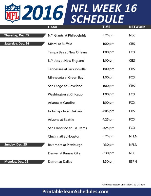Lively image with nfl schedule week 16 printable