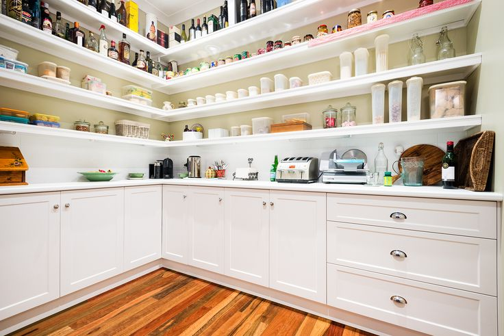 Walk in Pantry with Sheree square Doors in Satin White. Visit our website for more inspiring design ideas www.albedor.com.au