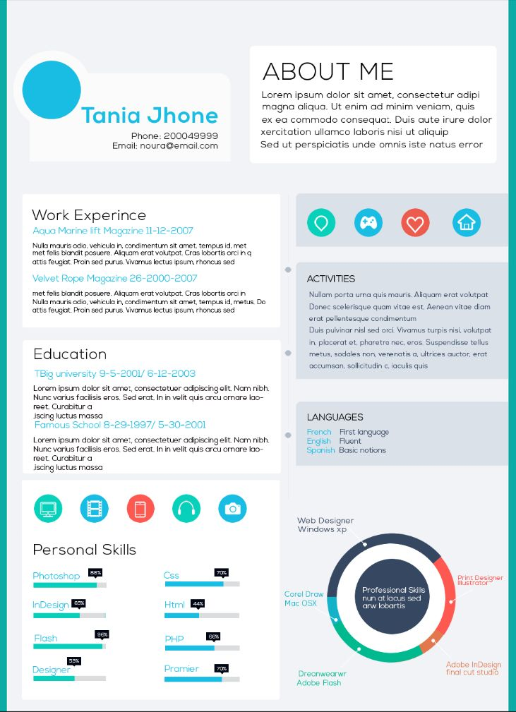 65 Best Creative Resume Templates Images On Pinterest | Free