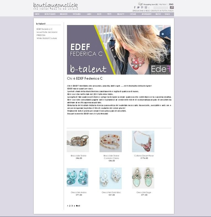 "Want to buy a jewel ""edef Federica C""?  Now see the jewelry on sale here: http://www.boutiqueonclick.com/IT/b-talent"