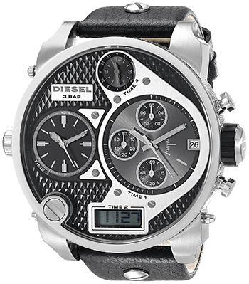 Montre Diesel DZ7125 Homme - Quartz - Chronographe - Cadran Acier Argent et Bracelet Cuir Noir - 4 Fuseaux Horaires - Date