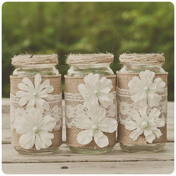 10 Lace and burlap wedding centerpieces. Lace and burlap wedding. Mint. Rustic wedding, barn wedding. Mason jar. on Etsy, $130.00