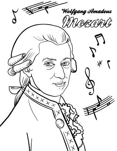 Printable Mozart coloring page. Free PDF download at http://coloringcafe.com/coloring-pages/mozart/