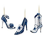 NFL Dallas Cowboys Steppin' Out Stiletto Shoe Ornament Collection. Fans of the Dallas Cowboys show their spirit from head to toe! Strut your Cowboys spirit with this first-ever NFL Dallas Cowboys stiletto shoe ornament collection. Arriving in sets of three, your festive and feisty shoe ornament collection begins with Issue One, Kick-Off in Style, a set of three stiletto-shaped ornaments sparkling with Cowboys spirit. Soon, the field of fashion heats up with Issue Two and additional Dallas…