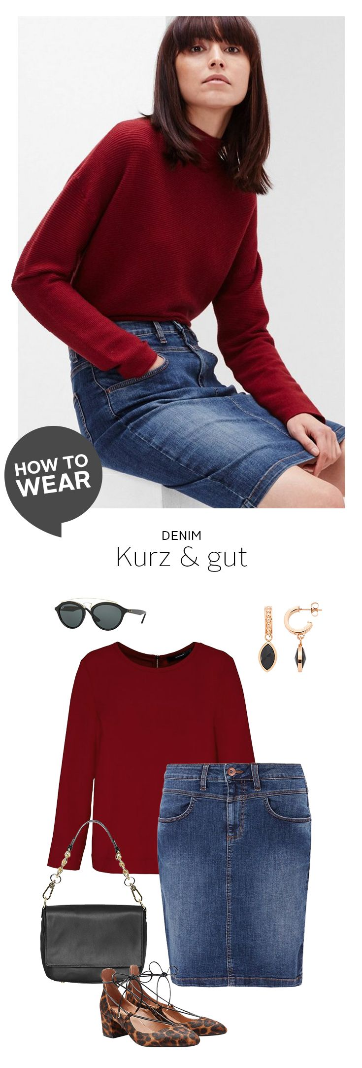 Wer High-Waist-Jeans mag, wird High-Waist-Jeansröcke lieben! Als echte Kombinationswunder machen sie einfach immer eine gute Figur, erlauben herrliche Farbkontraste mit satten Rot- oder Pastelltönen und sind wie gemacht für auffällige Schuhe wie die Leo-Dolly-Pumps zum Schnüren.