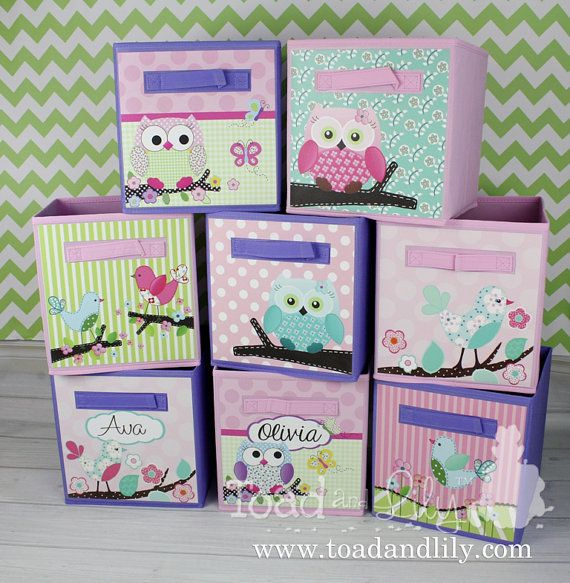 Set Of 8, Sweet Little Owl And Birdies Personalized Fabric Bins Girlu0027s  Bedroom Baby Nursery