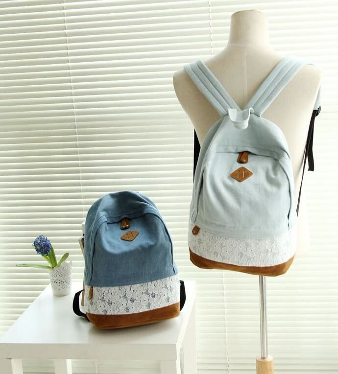 Image of Sweet Harajuku shoulder bag Denim fabric lace backpack canvas