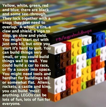 Lego Poem Lego Lego Worlds Lego Birthday