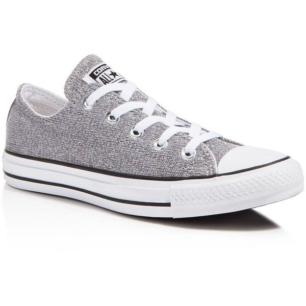 Converse All Star Sparkle Knit Low Top Sneakers found on Polyvore featuring shoes, sneakers, sparkle sneakers, converse shoes, glitter sneakers, converse trainers and woven shoes