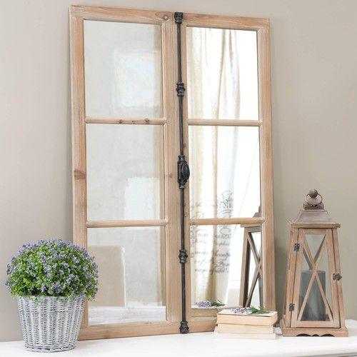 Zwarte VAUCLUSE houten en metalen venster spiegel H 120 cm