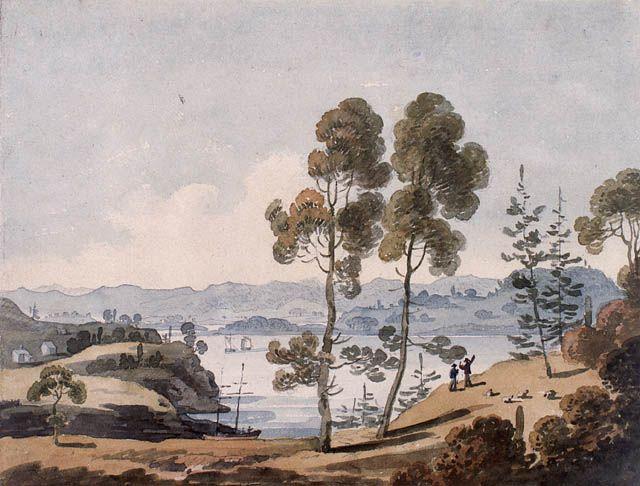 Vue de la baie du bassin des Mines, Nouvelle-Écosse, par G. Heriot, 22 juin 1807 Bibliothèque et Archives Canada, no d'acc 1989-471-15.