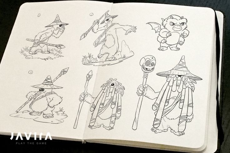 Concept sketches for the Druid and Ogies in TIMO... | Developer blog