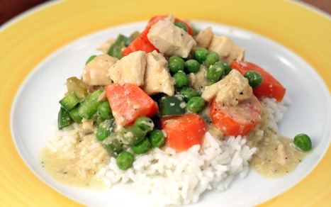 Crock Pot Chicken A-La-King.  It looks simple to put together and healthy too.(I'll make it over mashed potatoes though!)