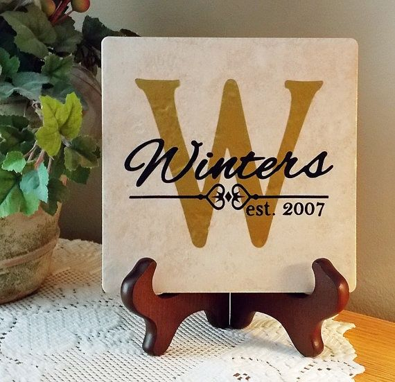 cricut projects and ideas | Ceramic Tile Personalized With Vinyl Lettering by ... | cricut ideas