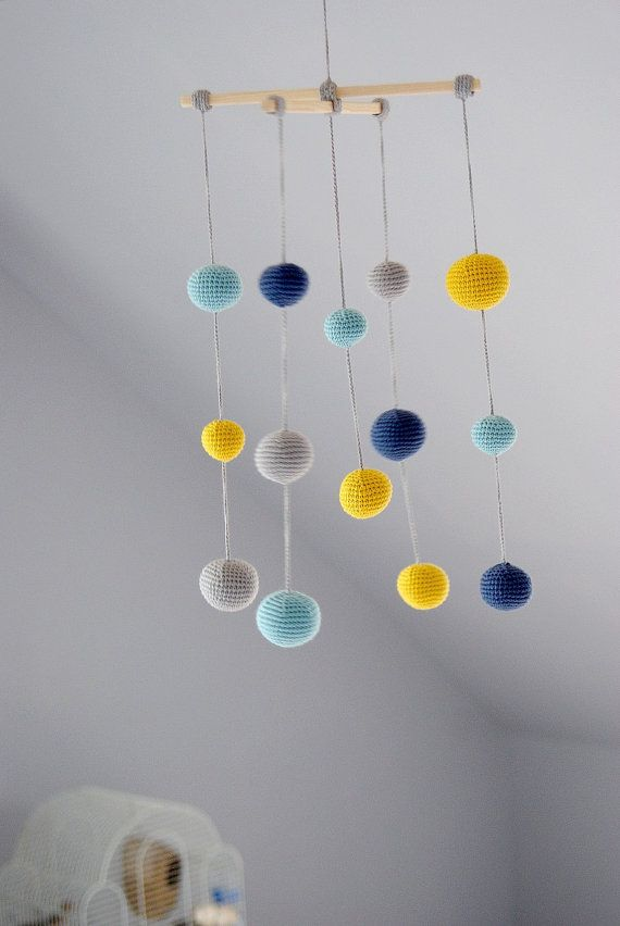 Crochet Pastel Baby Boy Mobile - Grey/Yellow/Aqua/Blue Ball's Mobile(4-color mobile) - Boys room decoration