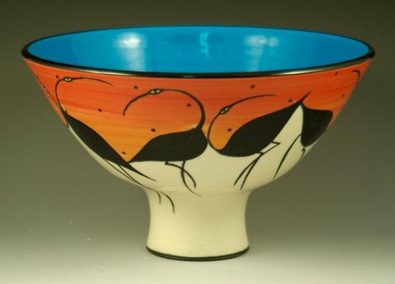 Shorebirds Bowl by ElisabethMaurland on Etsy, $100.00
