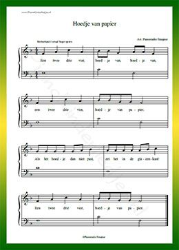 Hoedje van papier - Gratis bladmuziek van kinderliedjes in eenvoudige zetting voor piano. Piano leren spelen met bekende liedjes.