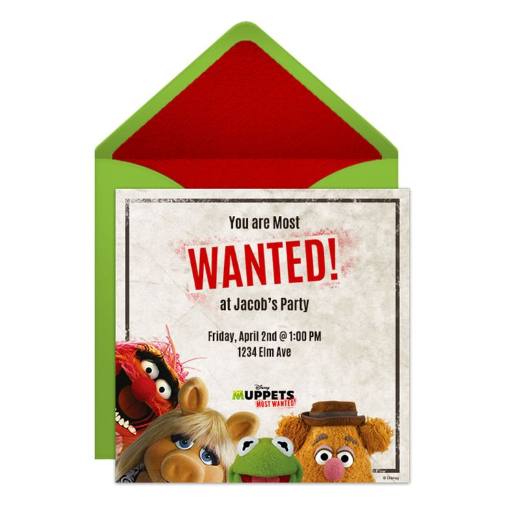 muppets most wanted party online invitation