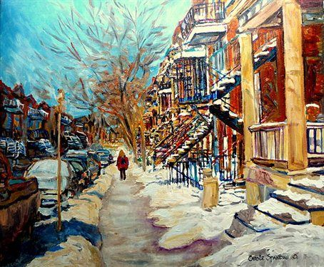 CAROLE SPANDAU-BEAUTIFUL WINTER DAY-VERDUN MONTREAL STREET SCENE PAINTING - Artist Daily